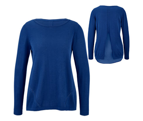 Női finom kötésű pulóver, kék