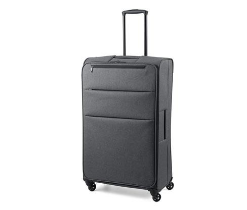 Könnyű textilbőrönd, sötétszürke, nagy