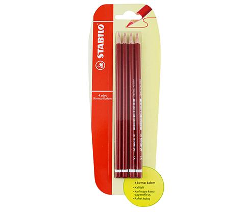 STABILO Kırmızı Kalem 4'lü Blister
