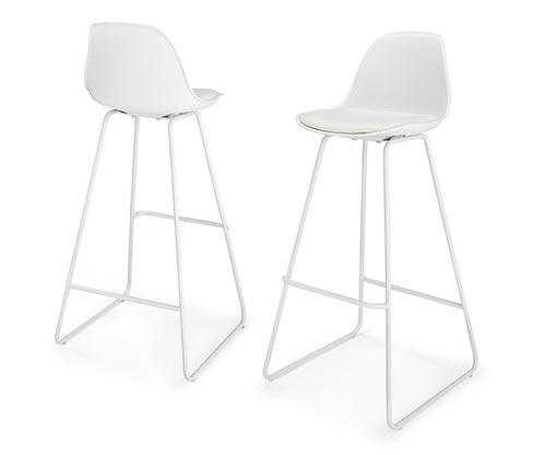 Barové stoličky, 2 ks, bílé