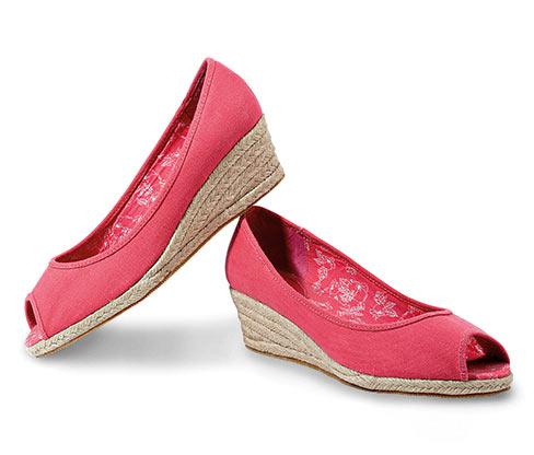 Sandály peep toe, korálové