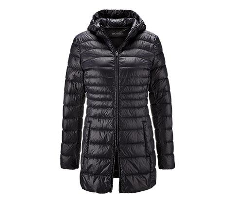 Damski pikowany płaszcz puchowy, czarny