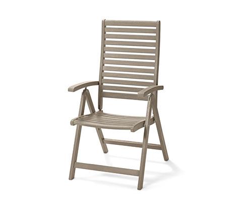 Záhradná stolička s vysokým operadlom, nastaviteľná do 6 polôh