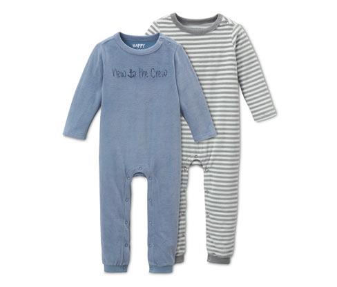 Rampersy niemowlęce z weluru, 2 sztuki