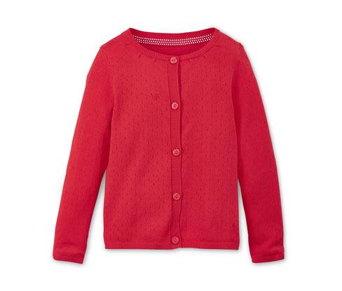 Sweterek dziewczęcy z dzianiny z ażurowym wzorem