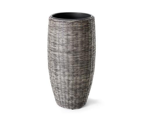 Polyrattan kaspó, szürke, 48x92cm