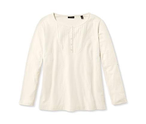 Langarmshirt mit Biesen, offwhite