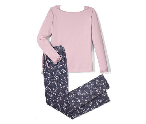 Dwuczęściowa piżama damska z motywem w kwiaty i ozdobną koronką
