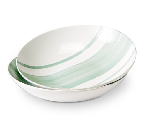 Głębokie talerze ceramiczne w ozdobne pasy, 2 sztuki