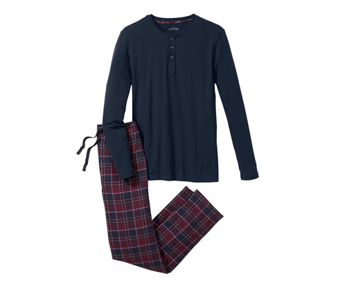 Férfi jersey-flanel pizsama, kockás
